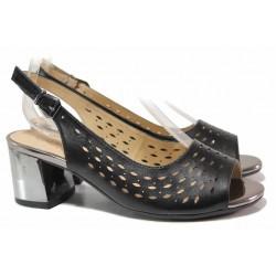 Дамски сандали, ширина Н, естествена кожа, огледален ток, перфорация / Caprice 9-28307-24H черен / MES.BG