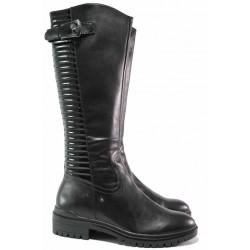 Дамски ботуши, естествена кожа, лак, ANTISHOKK система, за слаб крак XS / Caprice 5-25601-25 черен / MES.BG