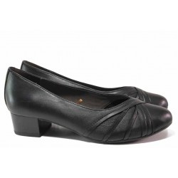 Немски дамски обувки от естествена кожа, за хора с ''Н'' крак, среден ток / Caprice 9-22303-25 черен кожа / MES.BG