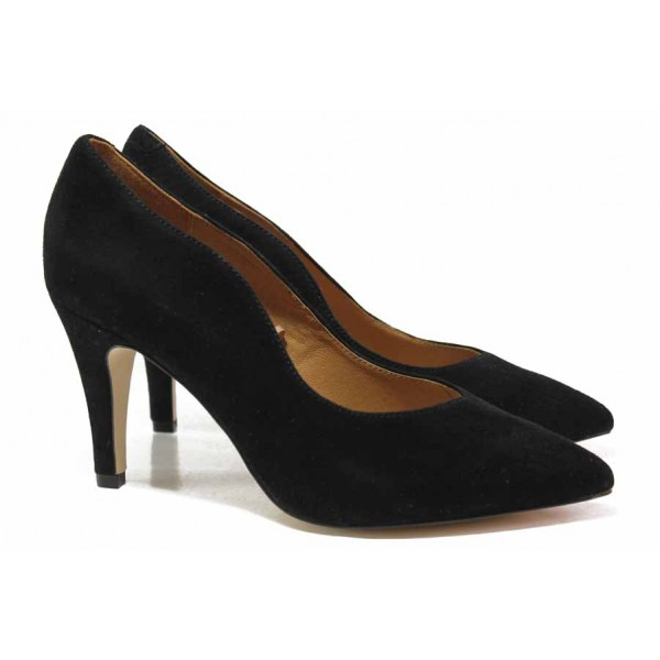 Немски елегантни обувки от естествен велур, висок ток, заострен връх / Caprice 9-22412-25 черен велур / MES.BG