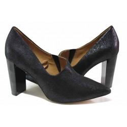 Елегантни немски обувки от естествен велур, кожени хастар и стелка / Caprice 9-24402-25 т.син / MES.BG