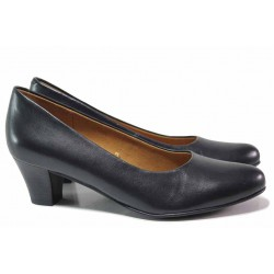 Стилни дамски обувки, немски, естествена кожа, среден ток, ANTISHOKK система, удобни / Caprice 9-22415-25 т.син / MES.BG