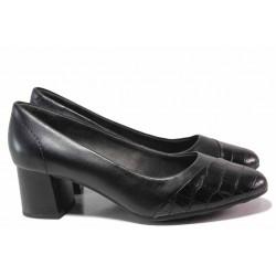 Дамски обувки, немски, среден ток, естествена кожа, за Н крак, кроко декорация / Jana 8-22380-25 черен кроко / MES.BG