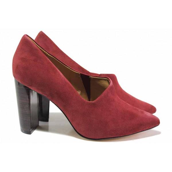 Стилни немски дамски обувки на висок ток, изработени от сатениран естествен велур / Caprice 9-24402-25 бордо / MES.BG