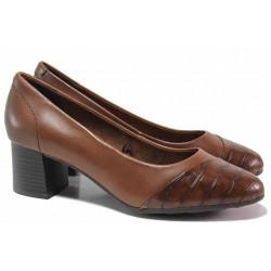 Дамски обувки, среден ток, за широко стъпало, немски, естествена кожа / Jana 8-22380-25 кафяв кроко / MES.BG