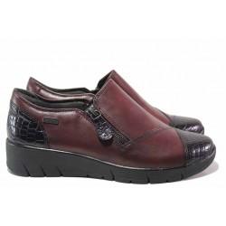 Дамски водоустойчиви обувки, естествена кожа, немски, равни / Jana 8-24600-25 бордо / MES.BG