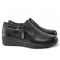Водоустойчиви обувки, дамски, немски, естествена кожа, вадеща стелка, за широко стъпало / Jana 8-24600-25 черен / MES.BG