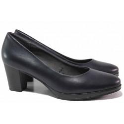 Анатомични немски дамски обувки, естествена кожа, еластично ходило / Jana 8-22400-25H т.син / MES.BG