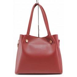 Удобна българска дамска чанта с органайзер / Съни 319 червен / MES.BG