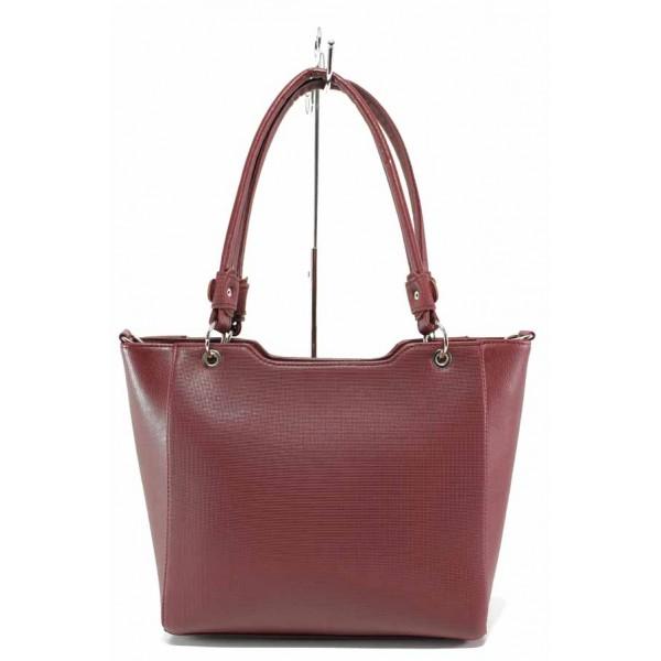 Стилна дамска чанта с допълнителна дълга дръжка / Съни 739-5 бордо / MES.BG