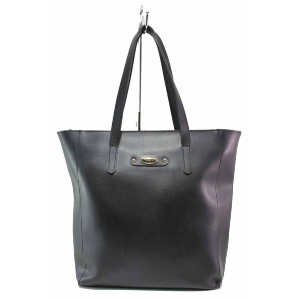 Българска дамска чанта с функционално разпределение на джобовете / Съни 4 черен / MES.BG