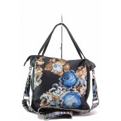 Българска дамска чанта тип торба, флорален мотив / Съни 128 сини цветя / MES.BG