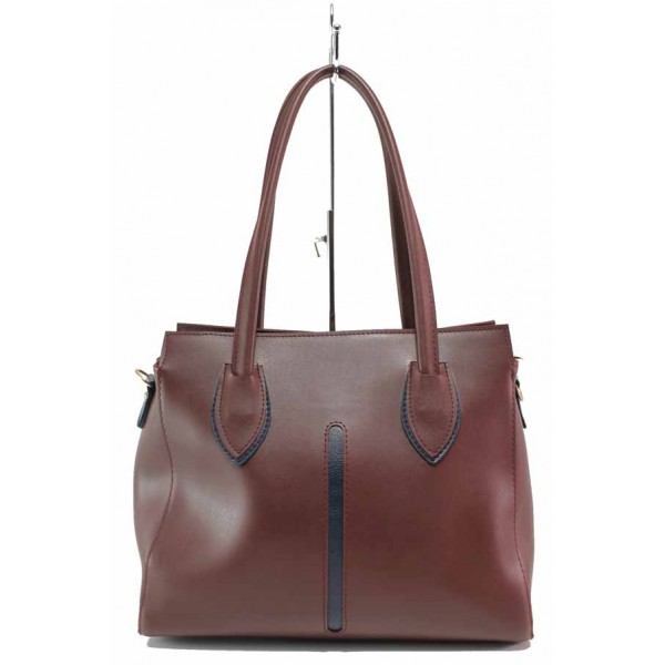 Българска дамска чанта с функционално разпределение на джобовете / Съни 2-2 бордо / MES.BG