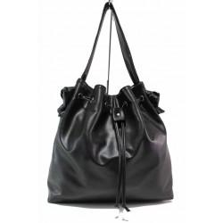 Българска дамска чанта тип торба, система за пристягане в горната част / Съни 716 черен / MES.BG