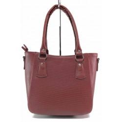 Изчистен модел дамска чанта на доказан български производител / Съни 559-5 бордо / MES.BG