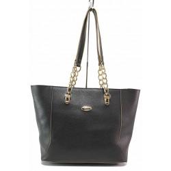 Българска дамска чанта с верижен орнамент / Съни 719-5 черен / MES.BG