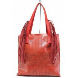 Модерна дамска чанта с ресни, кроко-кожа / Съни 576-5 червен / MES.BG