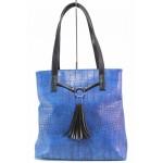 Модерна дамска чанта с пискюл, кроко-кожа, торба / Съни 9 син / MES.BG