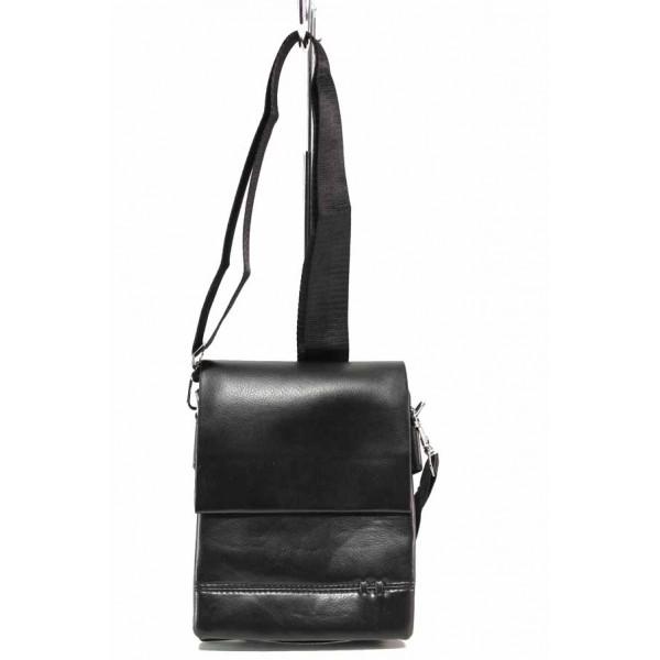 Ежедневна мъжка чанта от естествена кожа / Съни 10 черен / MES.BG