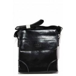 Мъжка ежедневна чанта от естествена кожа / Съни 11 черен / MES.BG