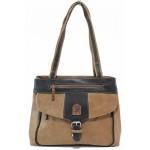 Българска ежедневна дамска чанта с външен джоб и катарама / Съни 510 камел / MES.BG