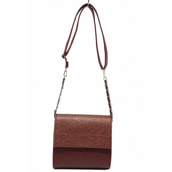 Дамска чанта за през рамо с акцент-верижка / Съни 619-5 бордо / MES.BG