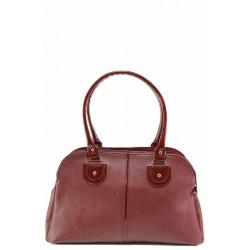 Дамска чанта с елементи от лачена еко-кожа, българска / Съни 666-5 бордо / MES.BG