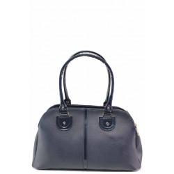 Българска дамска чанта с елименти от еко кожа-лак / Съни 666-5 син / MES.BG
