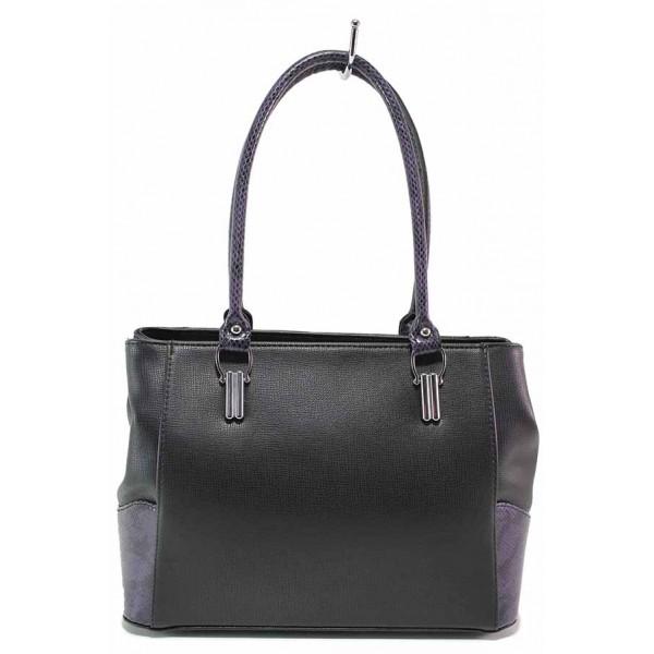 Дамска чанта с елементи от лачена кожа със змийски принт / Съни 746-5 черен-син / MES.BG