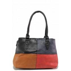 Българска дамска чанта в свежа цветова комбинация / Съни 6495 черен-червен / MES.BG
