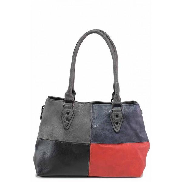 Българска дамска чанта в свежа цветова комбинация / Съни 601 сив-червен / MES.BG