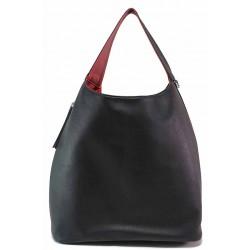 Дамска двулицева чанта с органайзер / Съни 12 черен-червен / MES.BG