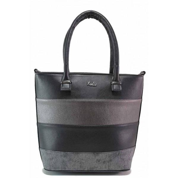 Стилна дамска чанта с умело комбинарани цветове / Съни 910 черен-сив / MES.BG