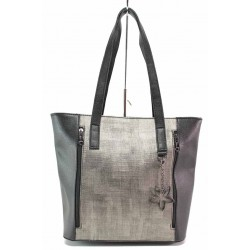 Стилна дамска чанта, преден джоб със странични ципове / Съни 705-5 черен-сив / MES.BG