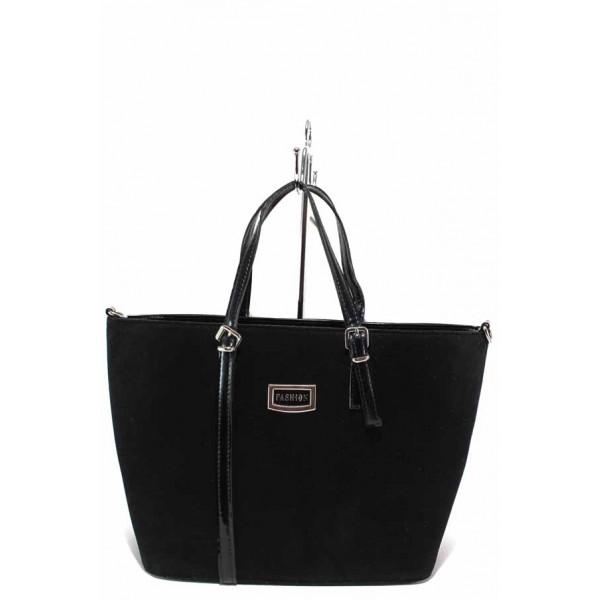 Стилна дамска чанта от еко-велур и лак / Съни 483 черен / MES.BG