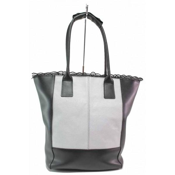 Стилна дамска чанта, дантела, релефна кожа / Съни 706-5 черен-бял / MES.BG