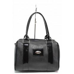 Дамска ежедневна чанта тип куфарче, еко-кожа в комбинация с лак / Съни 16 черен / MES.BG