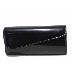 Вечерна дамска чанта тип портмоне / Съни 6039-1 черен лак / MES.BG
