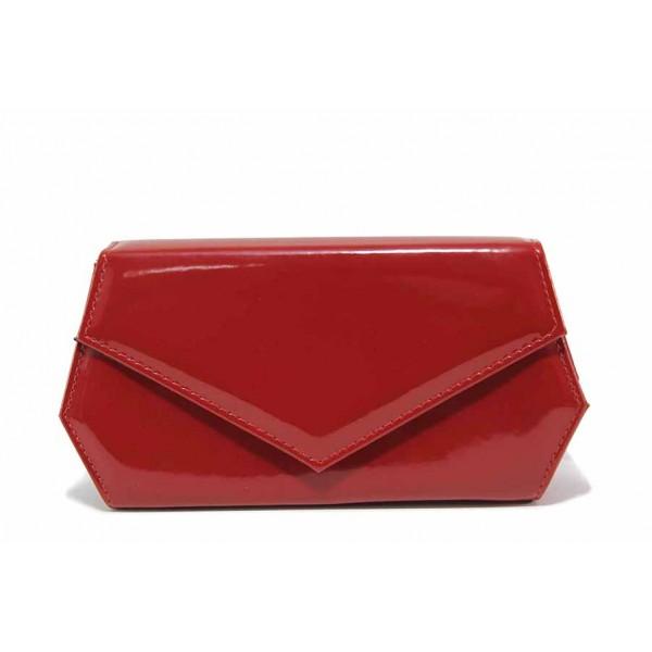 Официална дамска лачена чанта тип плик / Съни 6030 червен / MES.BG