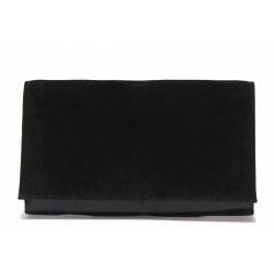 Вечерна дамска чанта тип плик, велур, верижка / Съни 1509 черен / MES.BG