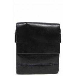 Мъжка чанта за през рамо, естествена кожа / Съни 19 черен / MES.BG