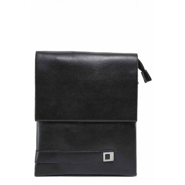 Мъжка чанта от естествена кожа с метален елемент / Съни 3034-3 черен / MES.BG