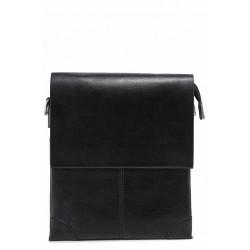 Мъжка ежедневна чанта от естествена кожа / Съни 17 черен / MES.BG
