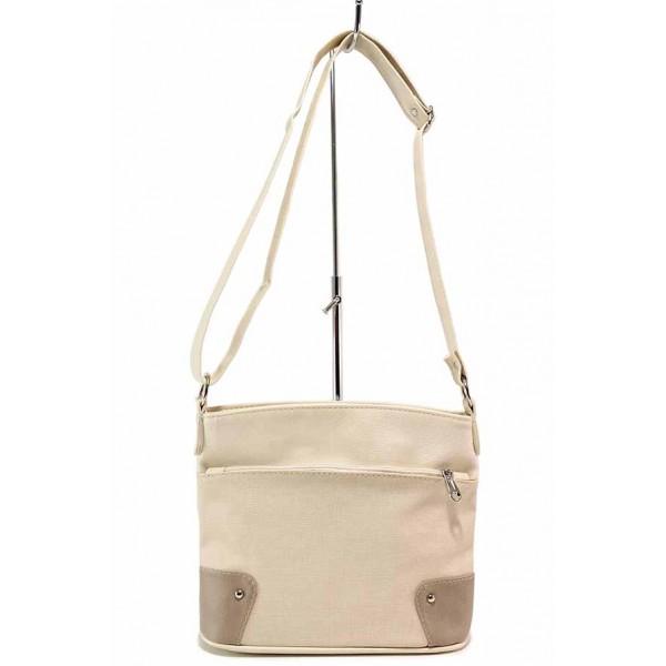 Удобна дамска чанта за през рамо с външен джоб / Съни 9845 бежов / MES.BG