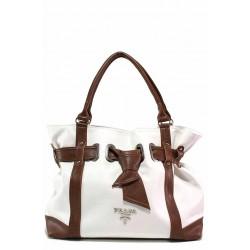 Българска дамска чанта, изработена от еко-кожа мейс / Съни 1012-Б бял-кафяв / MES.BG