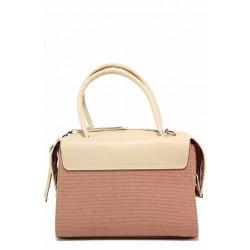 Стилна дамска чанта тип куфарче / Съни 749-51 розов пудра / MES.BG