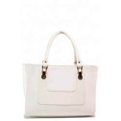 Изчистен модел дамска чанта, твърда кожа, външен джоб / Съни 315 бял / MES.BG