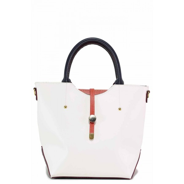 Дамска ежедневна чанта с допълнителна дълга дръжка / Съни 997-5 бял / MES.BG
