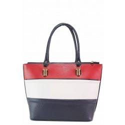 Дамска чанта в комбинация от три цвята / Съни 605-5 син / MES.BG