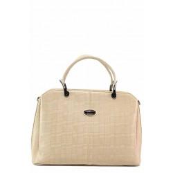 Стилна дамска чанта в ''кариран'' принт / Съни 314 бежов / MES.BG